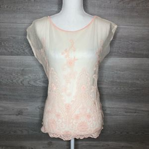 Pink Sheer Lace Top by Forever 21 Size Small